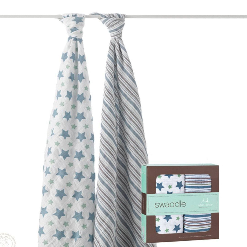 Swaddling Wraps - Aden & Anais Muslin Swaddles - Prince Charming - 2 Pack