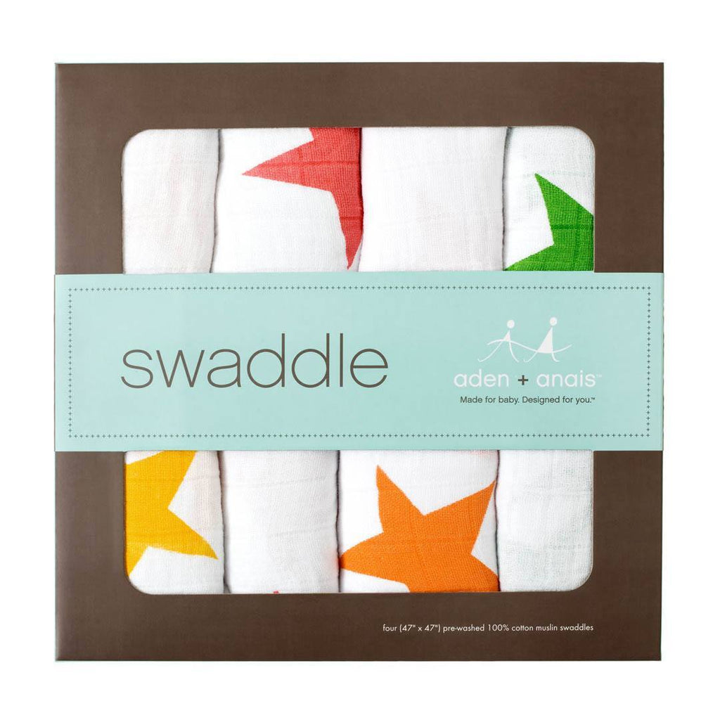 Swaddling Wraps - Aden & Anais Muslin Swaddles - Super Star - 4 Pack
