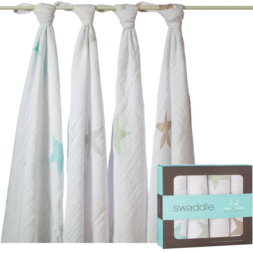 aden + anais Muslin Swaddles - Super Star Scout - 4 Pack - Swaddling Wraps - Natural Baby Shower