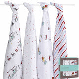 aden + anais Muslin Swaddles - Vintage Circus - 4 Pack - Swaddling Wraps - Natural Baby Shower