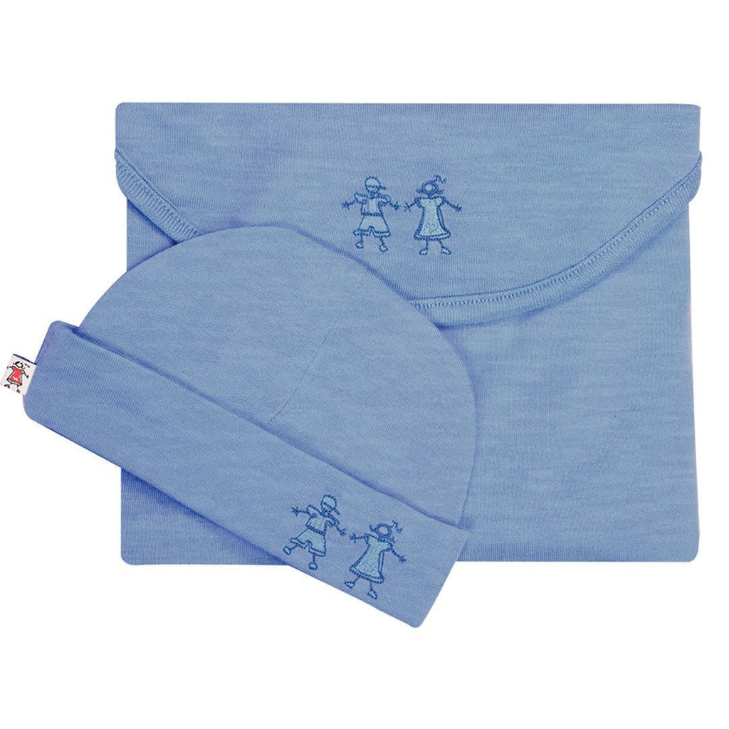 Merino Kids Cocooi Swaddle & Hat - Banbury Melange - Swaddling Wraps - Natural Baby Shower