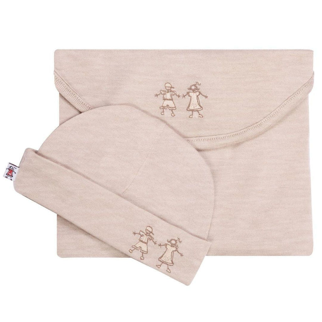 Merino Kids Cocooi Swaddle & Hat - Honey Oat Melange-Swaddling Wraps-Default- Natural Baby Shower
