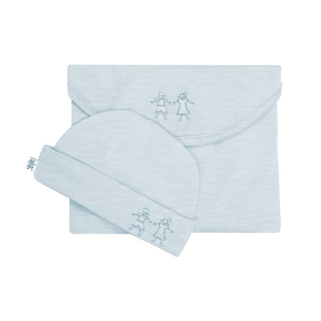 Swaddling Wraps - Merino Kids Cocooi Swaddle & Hat - Turtle Dove Melange
