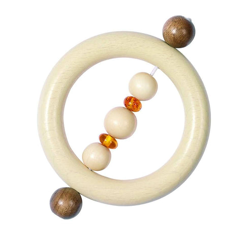Teethers - Heimess Wooden Touch Ring With Amber