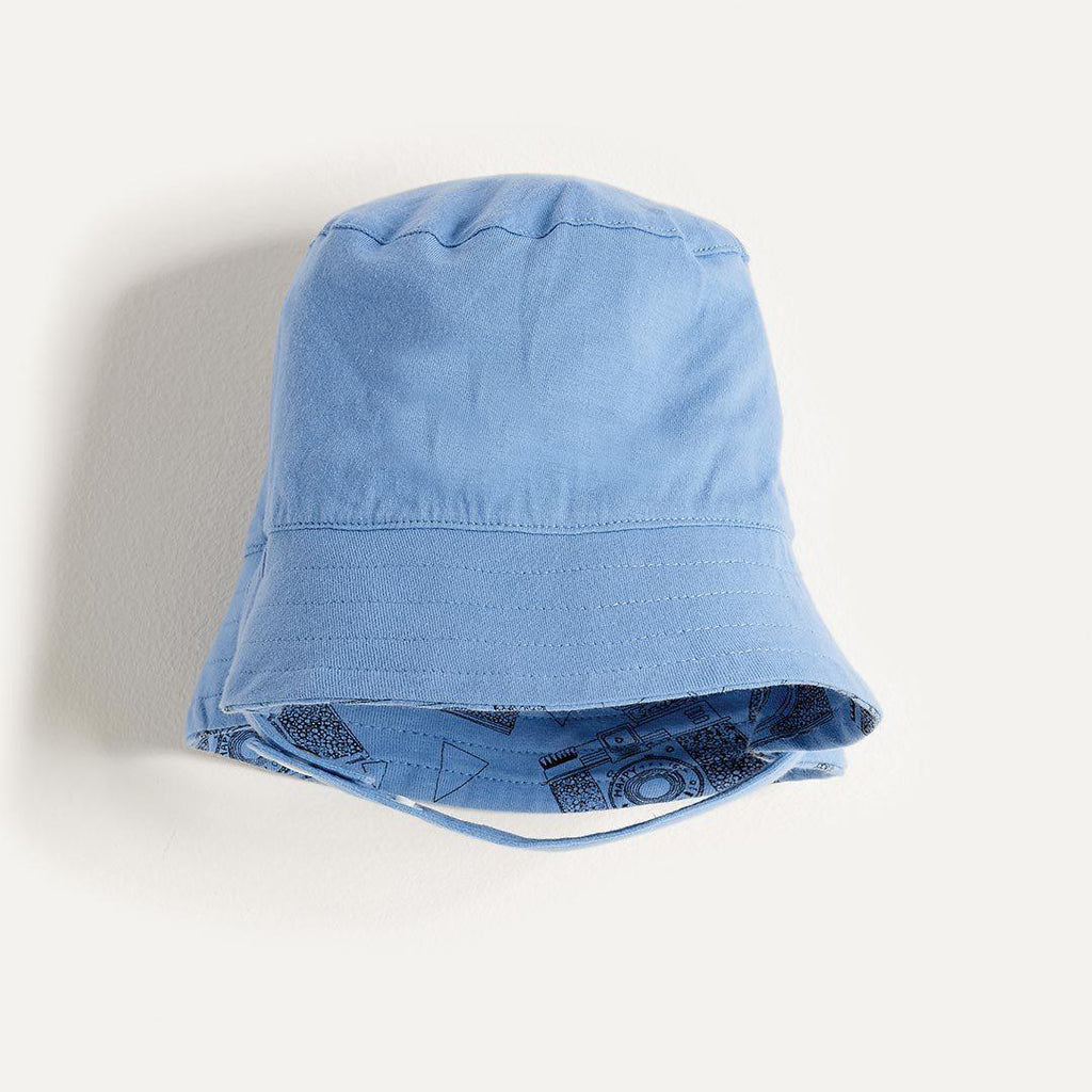 The Bonnie Mob Dexy Baby Reversible Sun Hat - Blue Camera