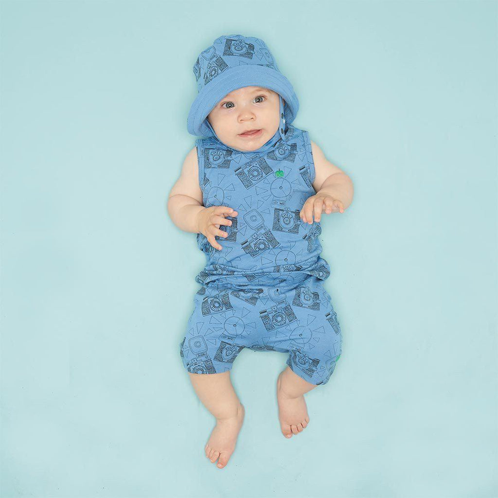 The Bonnie Mob Dexy Baby Reversible Sun Hat - Blue Camera Lifestyle