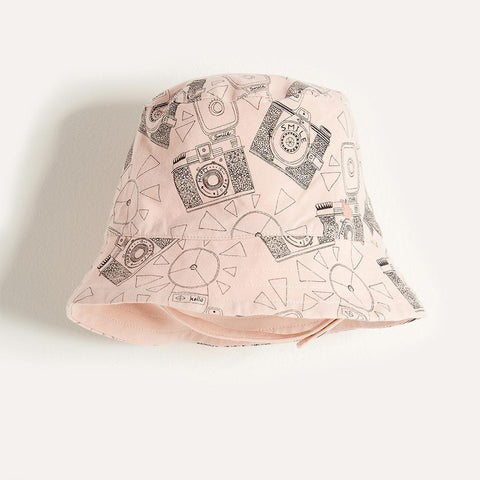 The Bonnie Mob Dexy Baby Reversible Sun Hat - Pink Camera