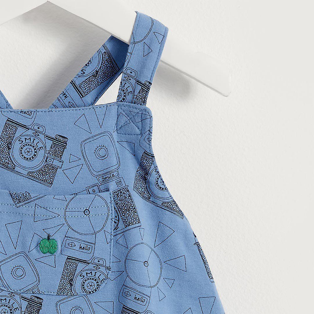 The Bonnie Mob Dubs Baby Dungaree Romper - Blue Camera