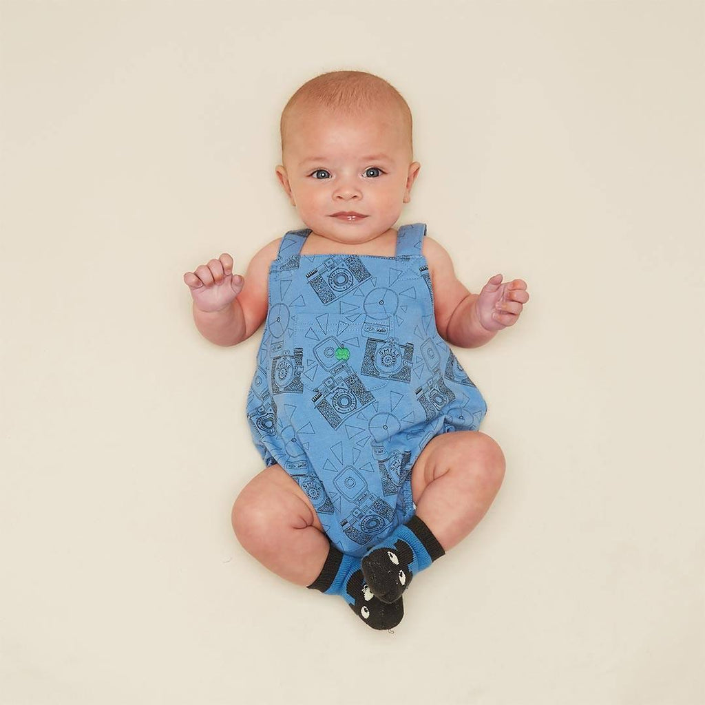 The Bonnie Mob Dubs Baby Dungaree Romper - Blue Camera Lifestyle