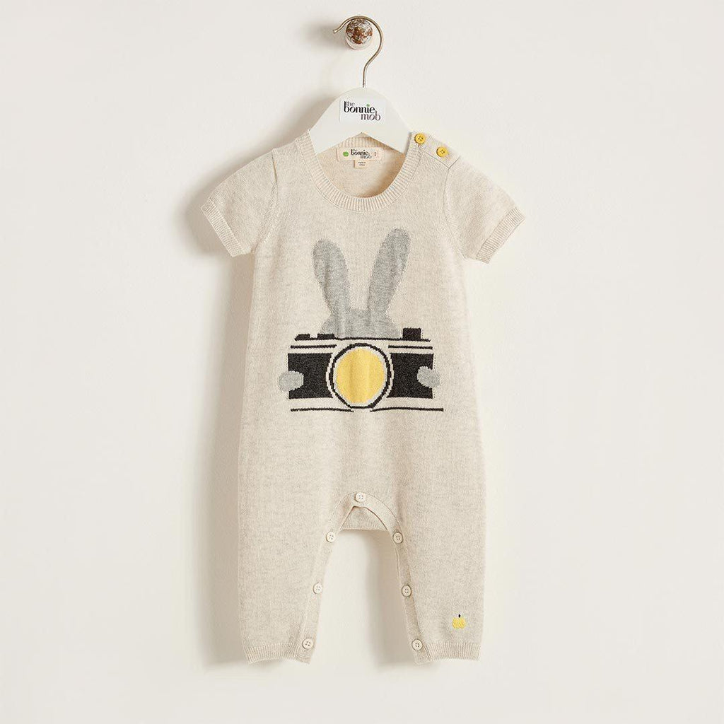The Bonnie Mob Lenon Baby Bunny Camera Instarsia Playsuit