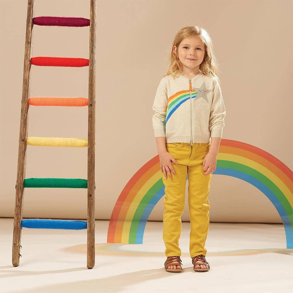 The Bonnie Mob Shooting Star Rainbow Intarsia Kids Cardigan - Rainbow Lifestyle
