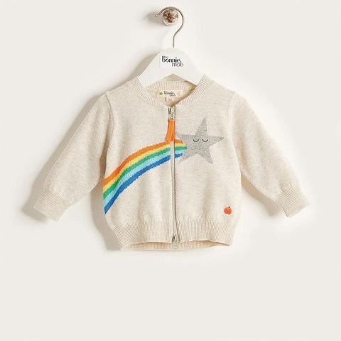The Bonnie Mob Shooting Star Rainbow Intarsia Kids Cardigan - Rainbow