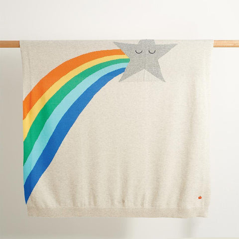 The Bonnie Mob - Shooting Star Rainbow Intarsia Blanket - Rainbow