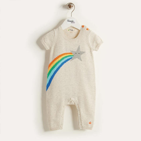 The Bonnie Mob Shooting Star Rainbow Intarsia Playsuit - Rainbow