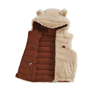 TOASTIE Sherpa Reversible Gilet - Biscuit/Chestnut-Coats & Snowsuits- Natural Baby Shower