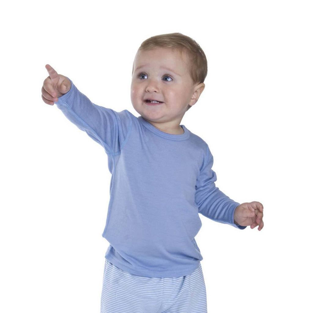 Tops & T-shirts - Bambino Merino Long Sleeve Vest Top - Sky