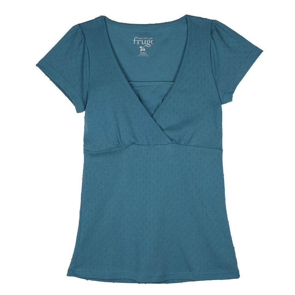 Tops & T-shirts - Frugi Breastfeeding Pointelle Top - Aegean Blue
