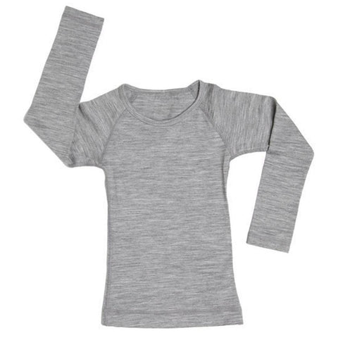 Nui Organics Merino Crew Top - Thermals - Silver-Long Sleeves-12-18m-Silver- Natural Baby Shower