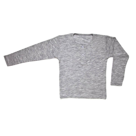 Tops & T-shirts - Nui Organics Merino Henley Top - Thermals - Silver