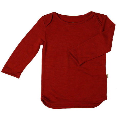 Nui Organics Merino Long Sleeved Tee - Firebrick - Tops & T-shirts - Natural Baby Shower