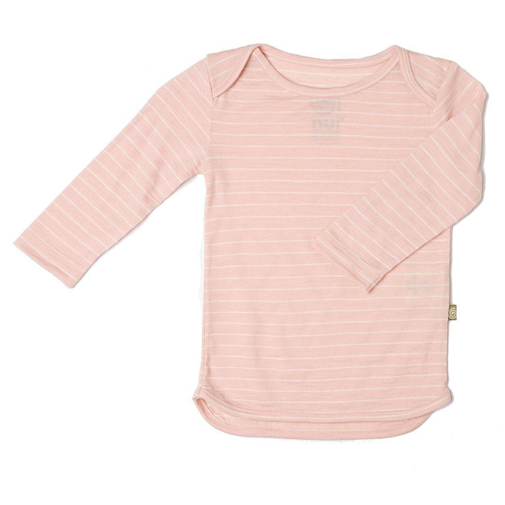 Tops & T-shirts - Nui Organics Merino Long Sleeved Tee - Pink Stripe