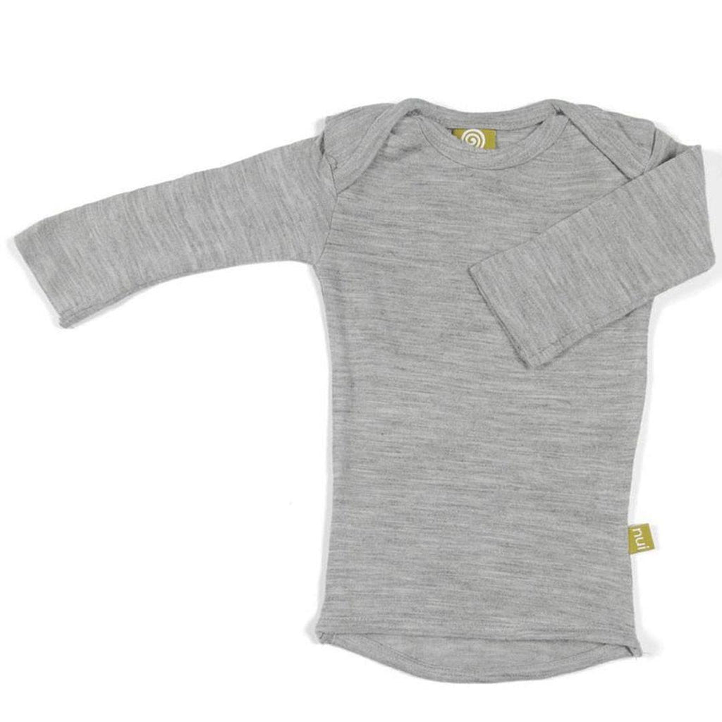 Tops & T-shirts - Nui Organics Merino Long Sleeved Tee - Silver