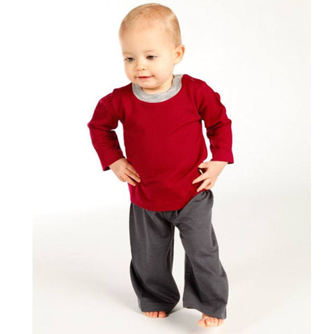 Nui Organics Merino Long Sleeved Top - Ruby Contrast Neck - Tops & T-shirts - Natural Baby Shower