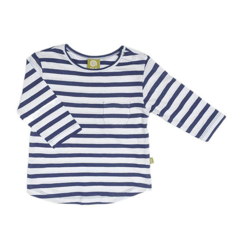 Nui Organics Merino Pocket Top - Navy Stripe - Tops & T-shirts - Natural Baby Shower