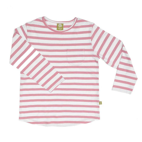 Nui Organics Merino Pocket Top - Rose Stripe - Tops & T-shirts - Natural Baby Shower