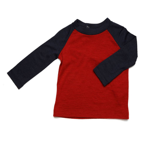Nui Organics Merino Uncle Al Tee - Firebrick - Tops & T-shirts - Natural Baby Shower
