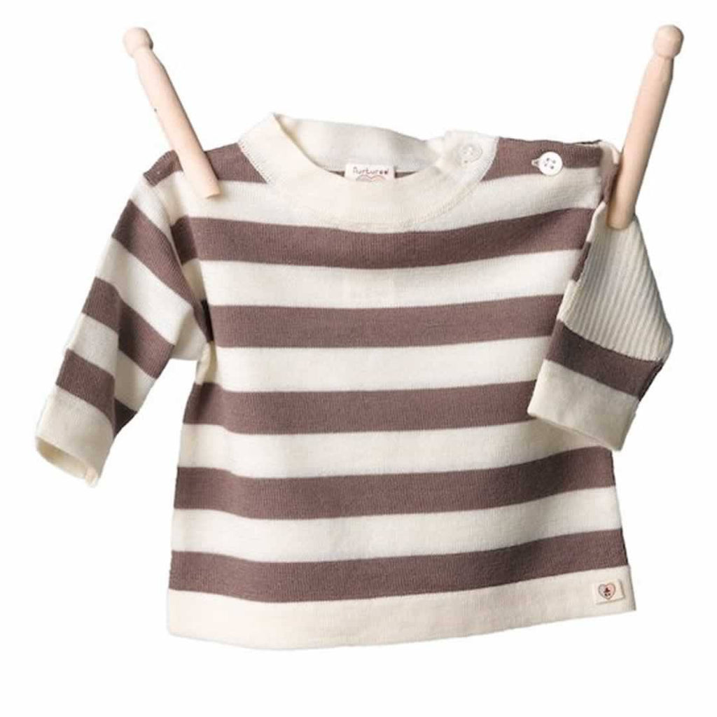 Nurtured by Nature Striped Top - Pure Merino - Chocolate and Buttercream - Tops & T-shirts - Natural Baby Shower