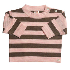 Tops & T-shirts - Nurtured By Nature Striped Top - Pure Merino - Chocolate And Candytuft