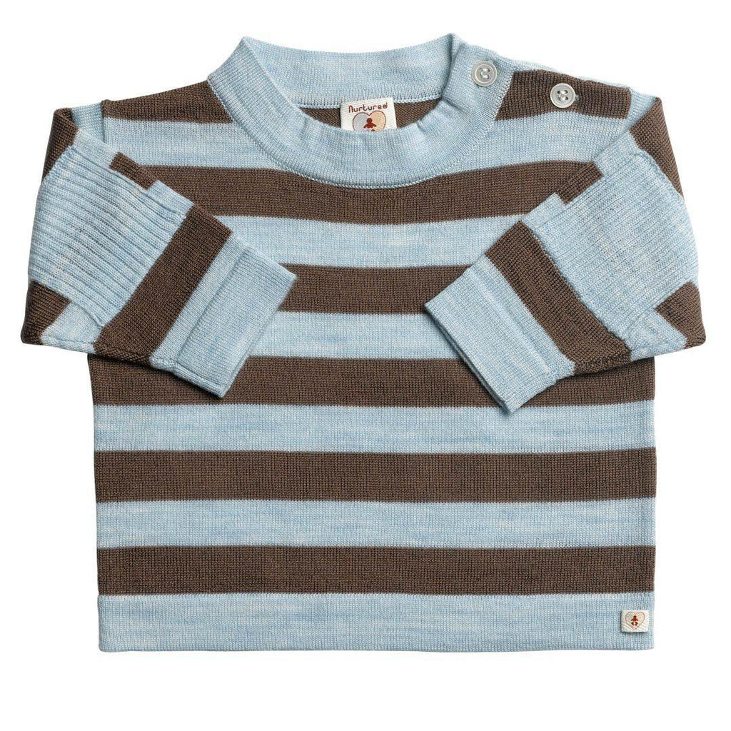 Tops & T-shirts - Nurtured By Nature Striped Top - Pure Merino - Chocolate And Cornflower