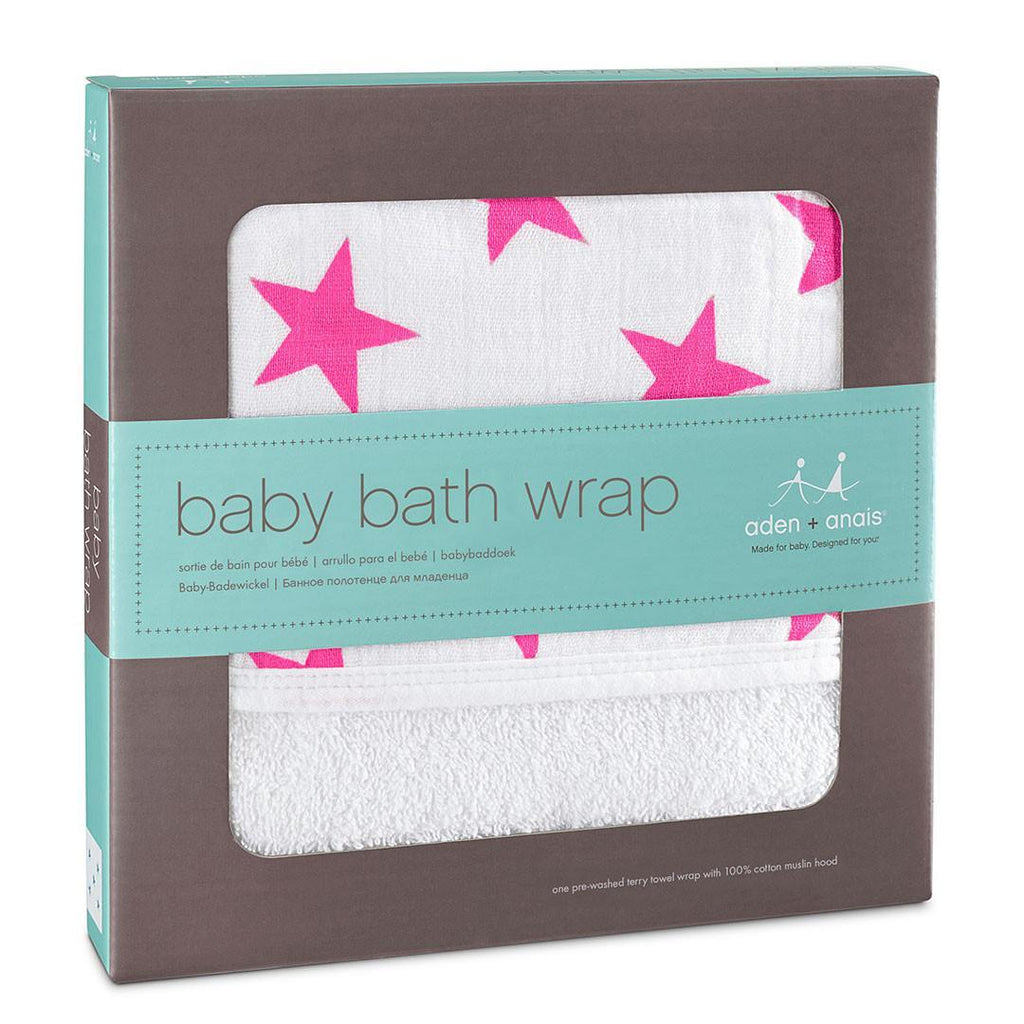 aden + anais Baby Bath Wrap - Fluro-Pink - Towels & Robes - Natural Baby Shower