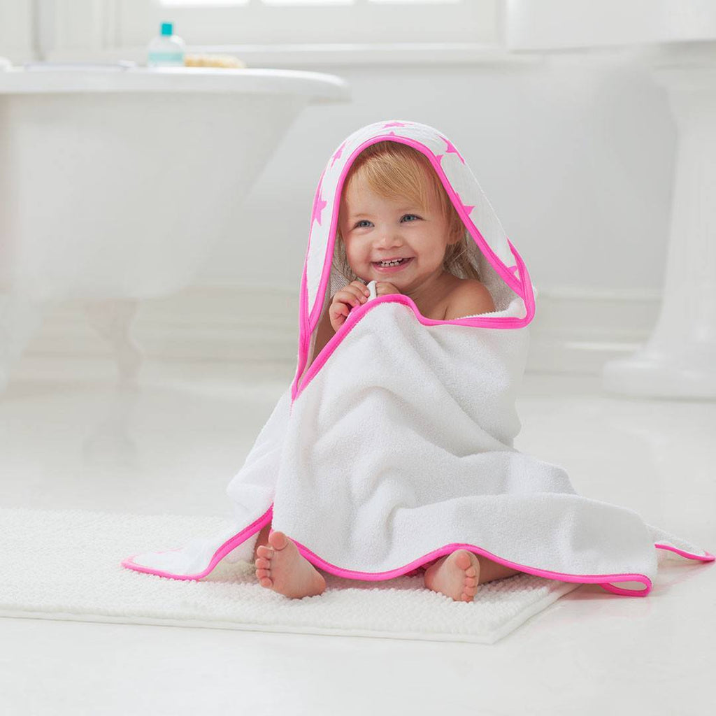 aden + anais Hooded Towel & Washcloth - Fluro-Pink - Towels & Robes - Natural Baby Shower