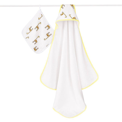 aden + anais Hooded Towel & Washcloth - Jungle Jam Giraffe - Towels & Robes - Natural Baby Shower