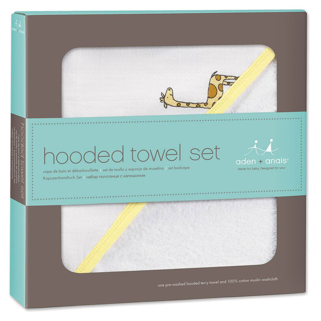 Towels & Robes - Aden & Anais Hooded Towel & Washcloth - Jungle Jam Giraffe