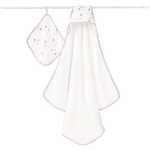 aden + anais Hooded Towel & Washcloth - Twinkle - Towels & Robes - Natural Baby Shower