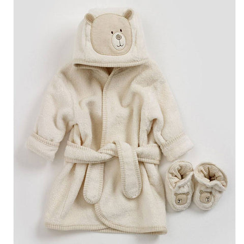 Natures Purest Bathrobe & Slippers - Hug Me Bear - Towels & Robes - Natural Baby Shower