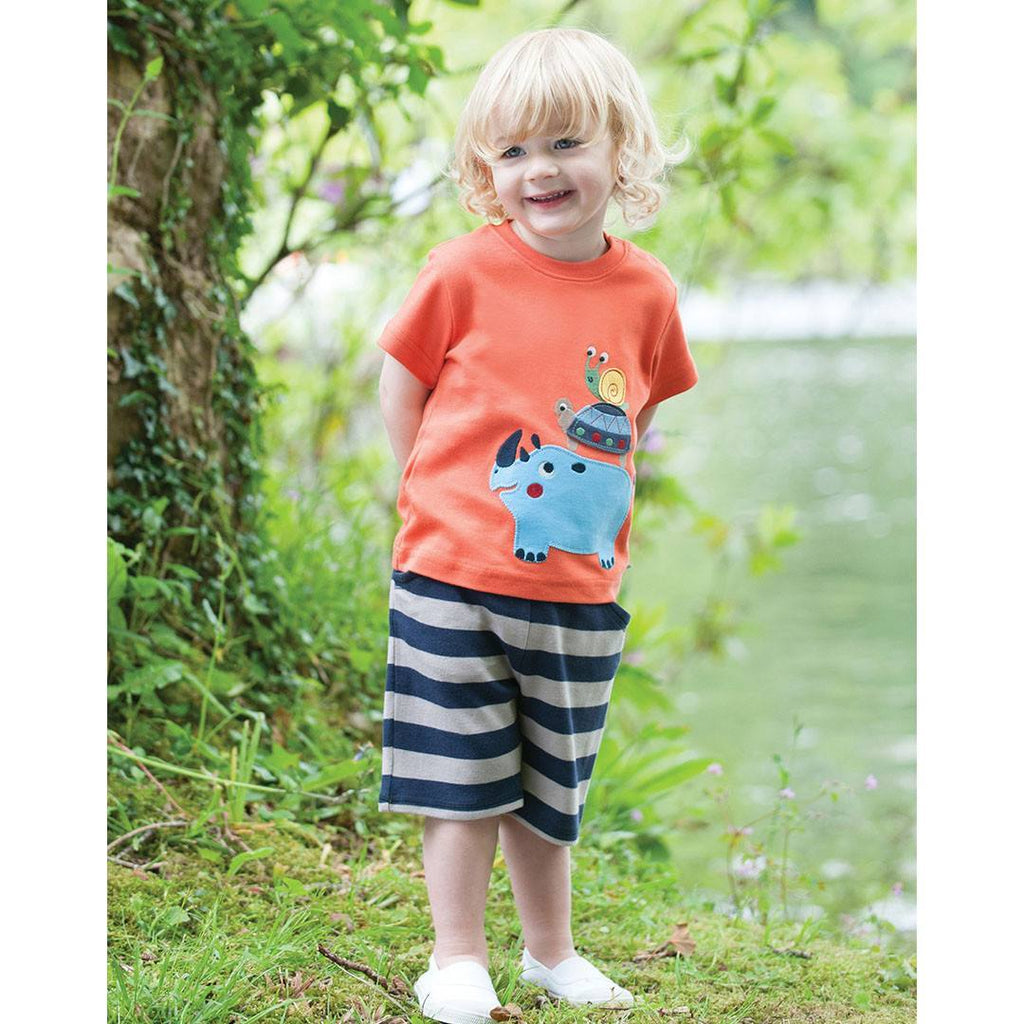 Trousers & Leggings - Frugi Little Stripy Shorts - Navy/String