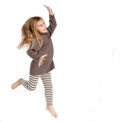 Nui Organics Knitted Leggings - Knits - Cocoa and White Stripe - Trousers & Leggings - Natural Baby Shower