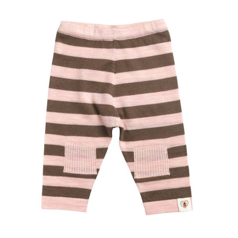 Trousers & Leggings - Nurtured By Nature Striped Pantalon - Pure Merino - Chocolate & Candytuft