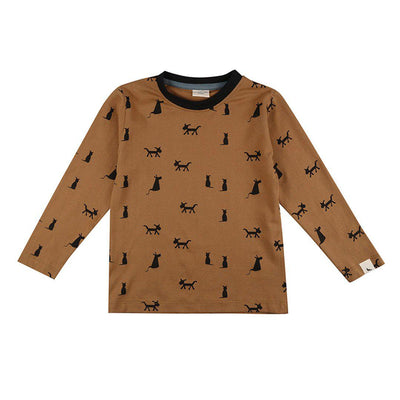 Turtledove London Cats + Dog Top - Honey-Long Sleeves- Natural Baby Shower