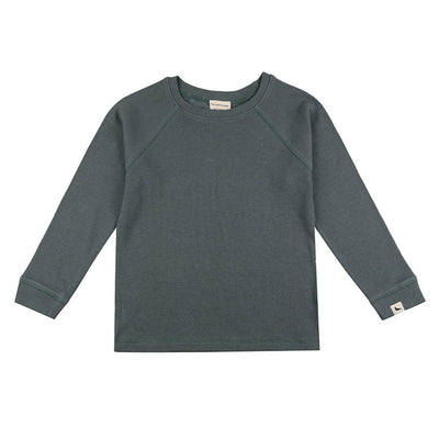 Turtledove London Rib Layering Top - Steel-Long Sleeves- Natural Baby Shower
