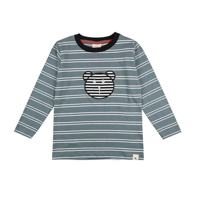 Turtledove London Steel Stripe Applique Top - Steel-Long Sleeves- Natural Baby Shower