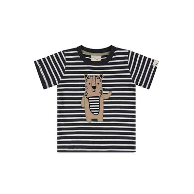 Turtledove London Stripe Leopard Applique T-Shirt - Black + White-Short Sleeves- Natural Baby Shower