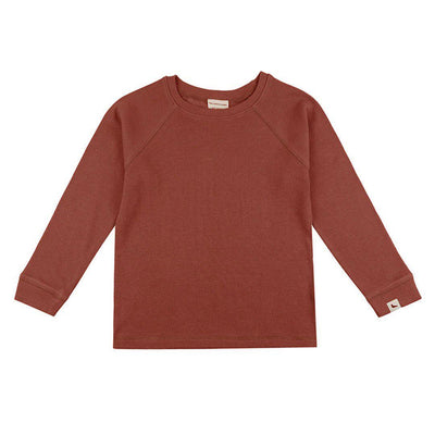 Turtledove London Rib Layering Top - Brick-Long Sleeves- Natural Baby Shower