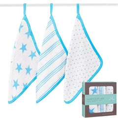 Washcloths - Aden & Anais Muslin Washcloth Set - Fluro-Blue