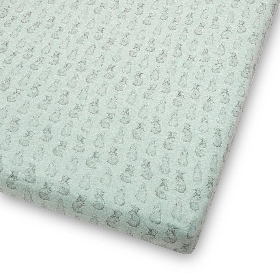 Wild Cotton Organic Cot & Cot Bed Fitted Sheet - Rabbit-Sheets-Mint- Natural Baby Shower