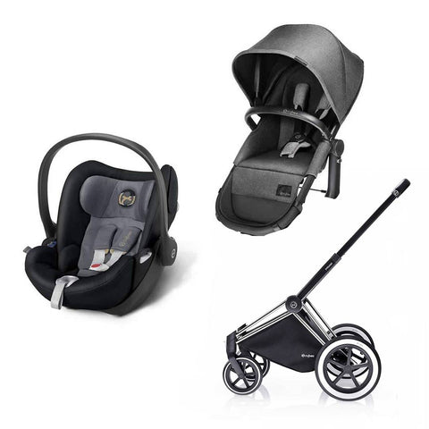 Cybex Priam 2in1 Travel System - Manhattan Grey-Stroller Bundles-Chrome- Natural Baby Shower